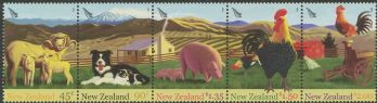 NZ SG2757a Chinese New Year (Year of the Rooster): Farmyard Animals strip of 5